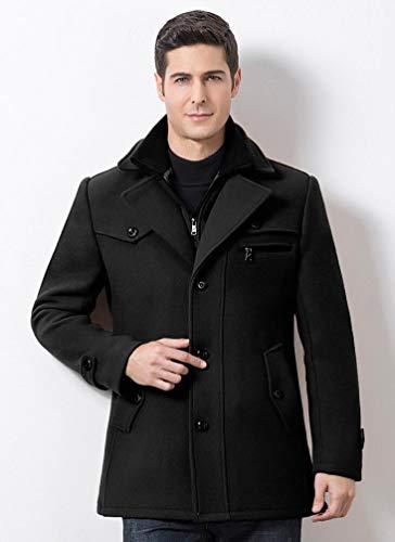 D'affaires Épais Double En Coton Et Fei Manteau De Col Section Laine Des Hommes Wei D'automne D'hiver Longue Noir À wXq67BA