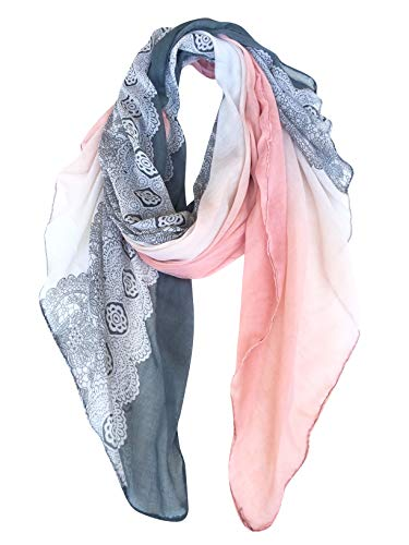GERINLY Cozy Lightweight Scarves: Fashion Lace Print Shawl Wrap For Women (Grey+LightPink) by GERINLY