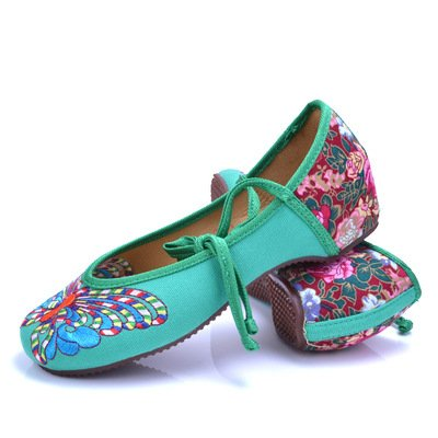 WHH Zapatos bordados, lencería, estilo étnico, hembrashoes, moda, cómodo green. colour