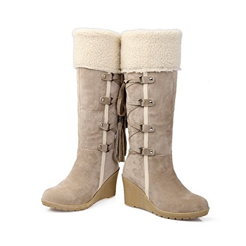 AdeeSu Ladies Bandage Color Matching Thick Bottom Heel Fur Collar Frosted Boots Beige 5rWhn
