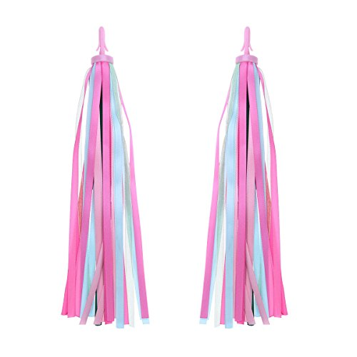 VORCOOL 1Pair Bike Handlebar Streamers Bicycle Grips Colorful Polyester Streamers Tassel Ribbons Children Baby Carrier Accessories (Pink)