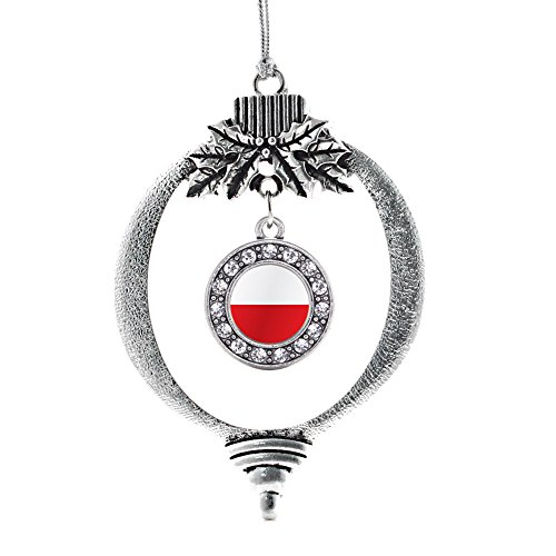 (Inspired Silver - Poland Flag Charm Ornament - Silver Circle Charm Holiday Ornaments with Cubic Zirconia Jewelry)