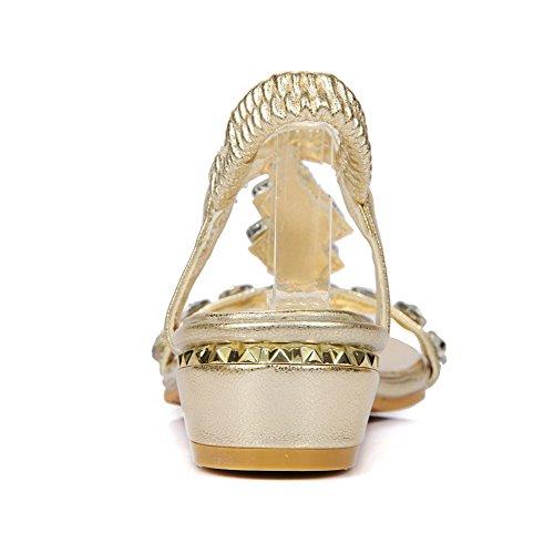 Mini Lace Women Materiale Sandalo Open oro Agoolar toe Morbido Solid Heel Up 5wSqffYH