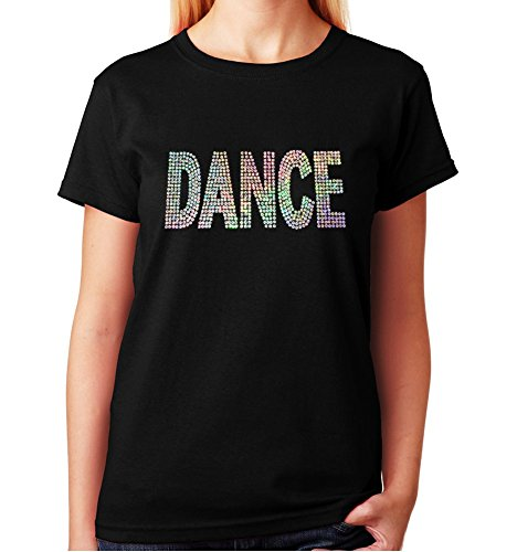 Women's / Unisex T-Shirt with Dance in Silver AB Sequence (1X, Black Crew Neck) - Ringspun Dance T-shirt