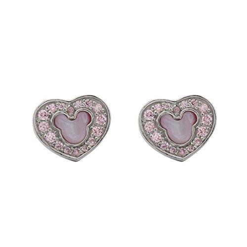 Disney Women and Girls Jewelry Mickey Mouse Sterling Silver Pink Cubic Zirconia and MOP Mickey Head on Heart Stud Earrings Mickey's 90th Birthday Anniversary