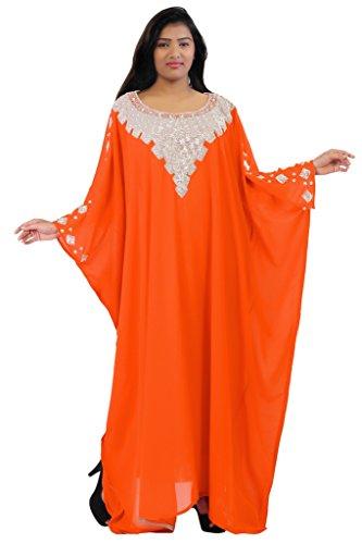 Dubai Very Fancy Kaftan Luxury Crystal Beaded Caftan Abaya Wedding Dress (XXXXL Orange) by Leena