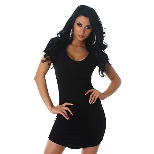 Mujer canalé vestido Stretch V de recorte Cóctel funda Noche Fiesta Danza manga corta negro