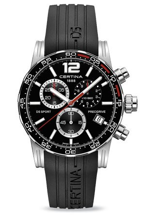 Certina DS Sport Chronograph Black Dial Black Rubber Mens Watch C027.417.17.057.02