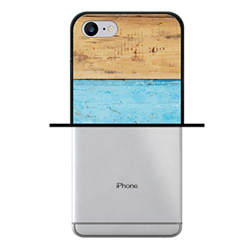 iPhone 8 Hülle, WoowCase Handyhülle Silikon für [ iPhone 8 ] Holzwand Handytasche Handy Cover Case Schutzhülle Flexible TPU - Schwarz
