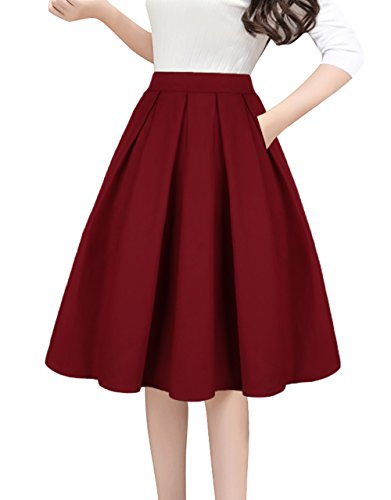 Tandisk A-Line Pleated Vintage Skirts with Pockets for Women Wine Red M