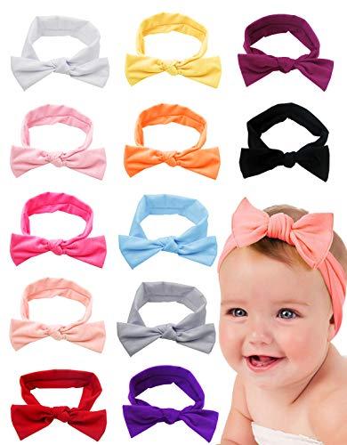 8-12 Pack Baby Girl Cute Headband Headwraps Elastic Bunny Ears Hair Band Holder (Multicolor-12E)