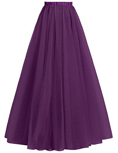 Gowns Cdress Skirts for Women's Line A Grape Tulle Bridesmaid Prom Length Formal Floor pnxrPqpwY