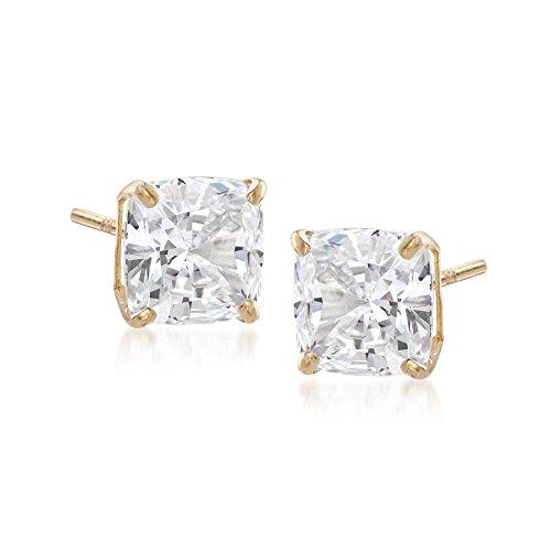 Ross-Simons 6.00 ct. t.w. Asscher-Cut CZ Stud Earrings in 14kt Yellow Gold (Stud Asscher)