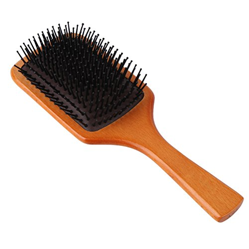 (WeCoola Large Natural Wood Paddle Hair Brush + Nylon Pin & Massage Air Bag, Anti Static Flat Detangler Brush can Reduce Frizz+Hair Breakage & Massage Scalp, Suit for All Hair Types of Women Men & Kids)