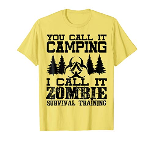Mens Zombie Survival Training Camping T-Shirt - Halloween Shirt 2XL Lemon