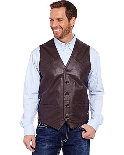 Cripple Creek Men's Lambskin Button Front Vest Brown Large ()