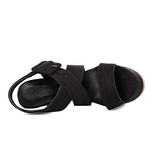 AgooLar Mujeres Esmerilado Puntera Abierta Tacón de aguja Hebilla Sólido Sandalia Negro