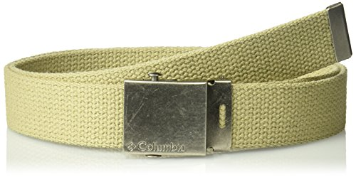 (Columbia Men's Military Web Belt - Casual for Jeans Adjustable One Size Cotton Strap and Metal Plaque Buckle,Khaki,One)