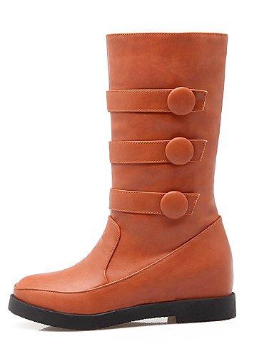 À Travail Xzz plateforme Chaussures bureau Cn35 Mode Femme 5 bottes Bottes Arrondi noir rangers us5 Décontracté amp; 5 Eu36 Habillé La Jaune Black Bout Beige Uk3 IwwZfrqCx