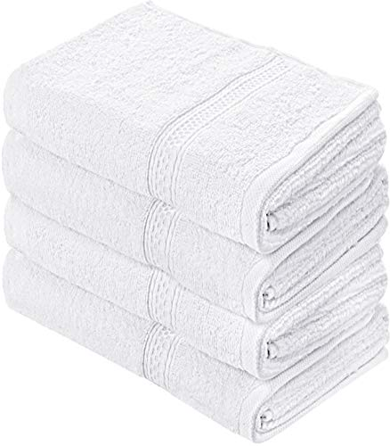 Utopia Towels Cotton Large Hand Towels (White, 4-Pack,16 x 28 inches) - Multipurpose Use for Bath, Hand, Face, Gym and Spa