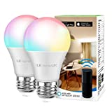 LE LampUX WiFi Smart Light Bulb, Smart bulb Works with Alexa, Google Assistant, RGBW Multicolor and Soft Warm White Wifi Bulb with APP Remote Control, Timer,Color Changing Dimmable 9W A19 E26 LED Bulb, No Hub Required, 2 Packs