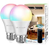 Alexa Smart Light Bulb  RGB Color Changing LED Bulbs  Works with Alexa and Google Home  Dimmable A19 E26 Bulb 60 Watt Equivalent  2.4GHz WiFi Only  No Hub Required (2 Pack)
