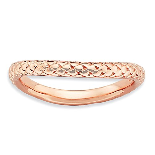 925 Sterling Silver Pink Plate Wave Band Ring Size 9.00 Stackable Curved Fine Jewelry Gifts For Women For Her from ICE CARATS