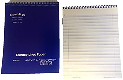amazon com literacy lined notebook paper 40 sheets per notebook