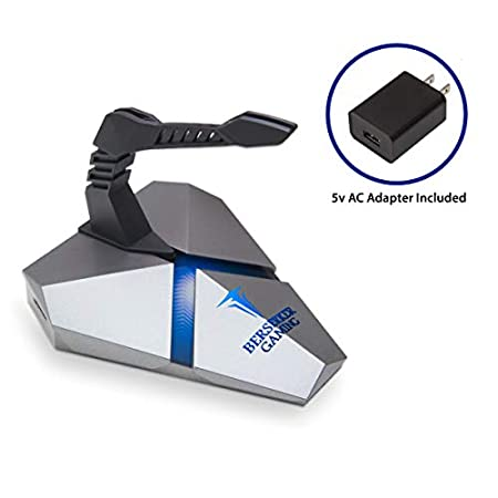 LOKI Gaming Mouse Bungee Stand – RGB LED Lights – 4 Port USB 3.0 Hub with Active Power – Micro SD Card Reader Slot – PC Mac Linux