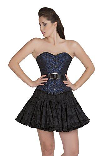 (Blue Black Brocade Goth Burlesque Overbust & Cotton Silk Tutu Skirt Corset Dress)