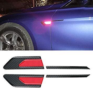 Uniqus 2 PCS Carbon Fiber Car-Styling Fender Reflective Bumper Decorative Strip, Inner Reflection + External Carbon Fiber(Red)