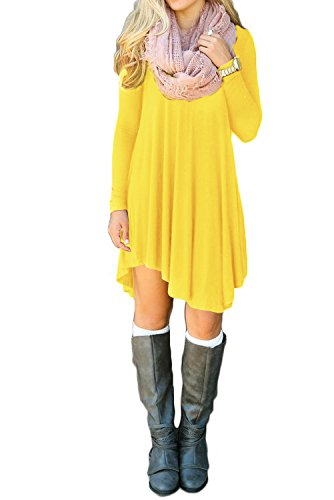 Yellow Tunic Shirt (TINYHI Women's Long Sleeve Tunic Casual Loose T Shirt Mini)