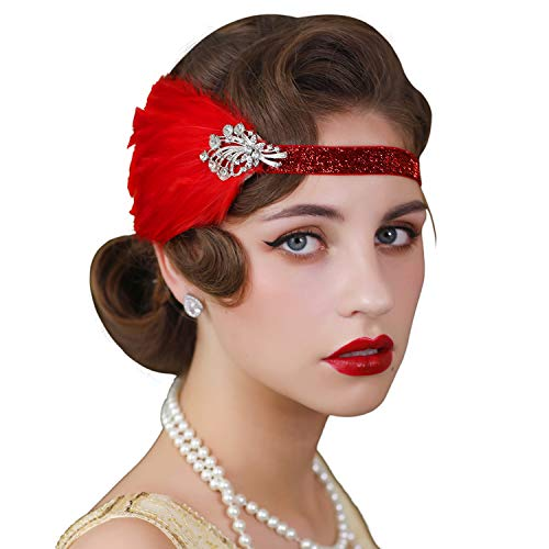 SWEETV 1920s Flapper Headband, Feather Great Gatsby Headpiece, Roaring 20s Vintage Hair Accessories, Red