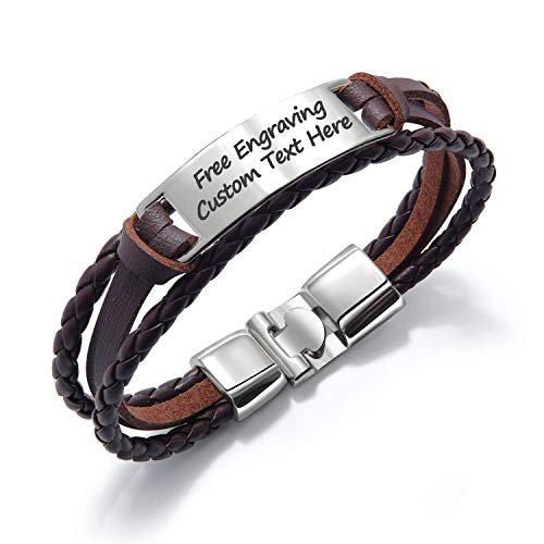 GAGAFEEL Leather Cuff Bracelet Braided Rope Custom Engraved Logo ID Stainless Steel Bangle DIY Birthday Xmas Gift (Brown#1)