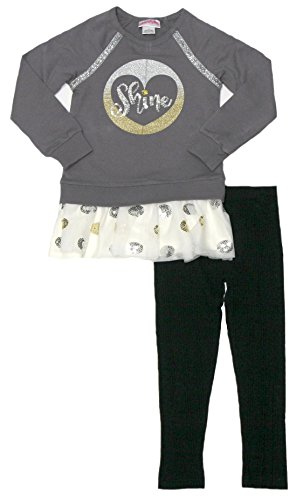 - Flapdoodle Little Girls Holiday Long Sleeve Drop Waist Shirt with Tulle and Leggings (6, Grey)