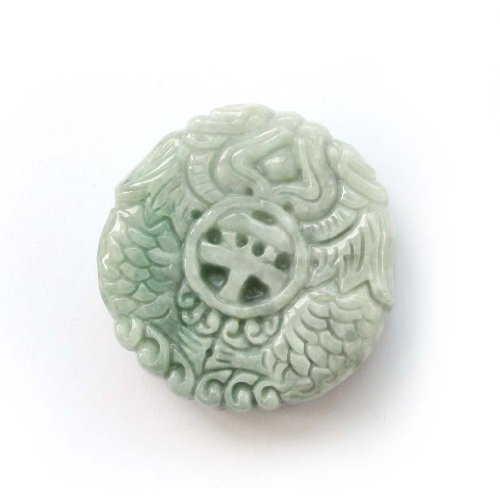 Two Side Carved Jadeite Jade Twin Dragon Fortune Peace Amulet Pendant