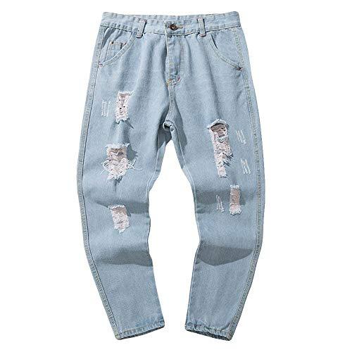 Pantalones Largos para Hombre Vaqueros Denim Jeans Deportivo Pantalones Slim Fit Pantalón Motorcycle Vintage Hiphop Moderno, Laborales,Casuales Azul5