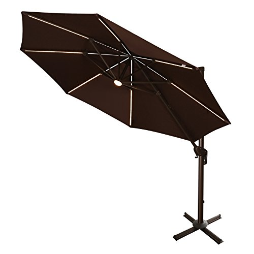 Cheap Ulax furniture 360° Rotation 11 Ft Deluxe Solar Powered LED Lights Outdoor Offset Hanging Market Umbrella, Cantilever Patio Umbrella, 7 different tilt positions, Cross Base Included, Chocolate