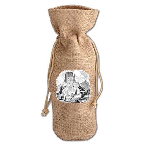 Corfe Castles #1 Burlap Wine Drawstring Bag - Corfe Castle