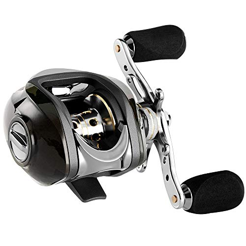 Baitcasting Reel, Stainless Steel Silent Fishing Reel Tools Bearings 7.0:1 Gear Ratio, Super Drag, Magnetic Tuned Dual Brakes, Saltwater Freshwater Right Handed Reel for Bass/Crappies/Walleyes