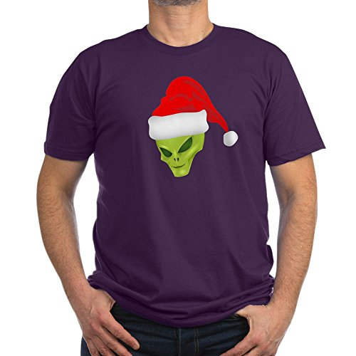 Truly Teague Men's Fitted T-Shirt (Dark) Green Alien Head with Christmas Santa Hat - Eggplant Purple, -