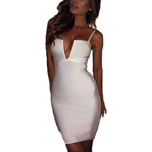 HLBandage Women Deep V Neck Spaghetti Strap Rayon Bandage Dress Blanco
