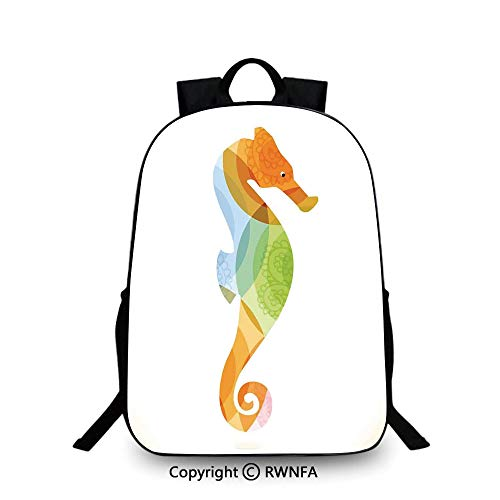 Notebook computer schoolbag,Silhouette of Sea Creature with Coral Reef Patterns Inside Aquarium Icon Backpack Cool Children Bookbag, Orange Green ()