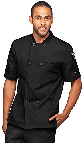 Men's Short Sleeve Chef Coat with Mesh Side Panels (S-3X, 4 Colors) (X-Large, Black)