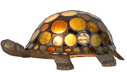 River of Goods 11305 Stained Glass Multi Color Accent Turtle Lamp, Amber, 4-Inch, Red and Brown