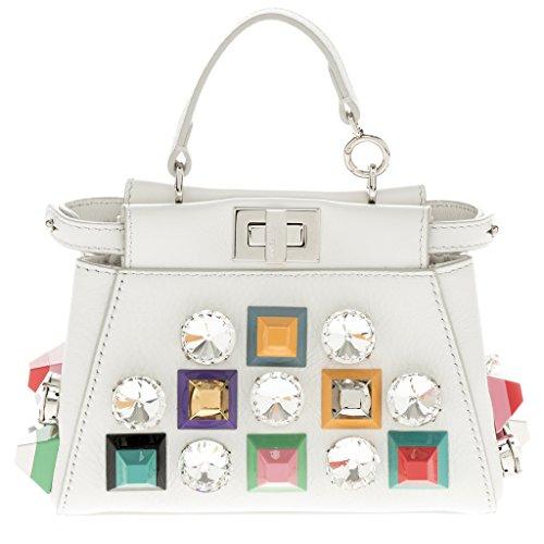Fendi Women's Peekaboo Micro Crystal and Stud Embellished Satchel White