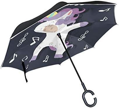 Vinlin Reverse Folding Umbrella,Dab Music Unicorn Durable Double Layer Windproof UV Protection Car Inverted Umbrella Outdoor