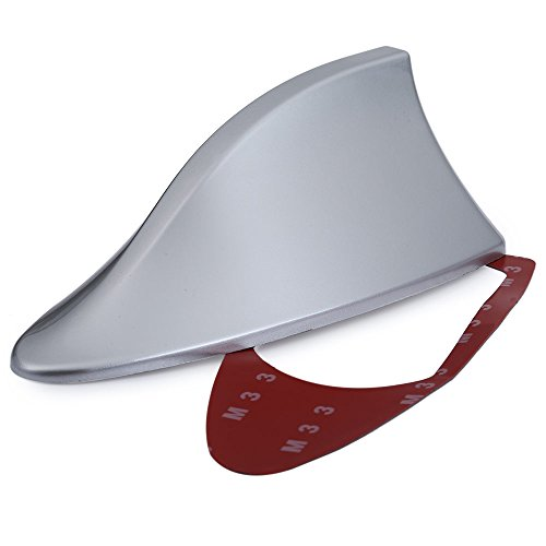 AUTOLOVER Universal Antenna Car With Blank Radio Shark Fin Antenna Shark Fin Shaped Radio Signal Decorative(SILVER)