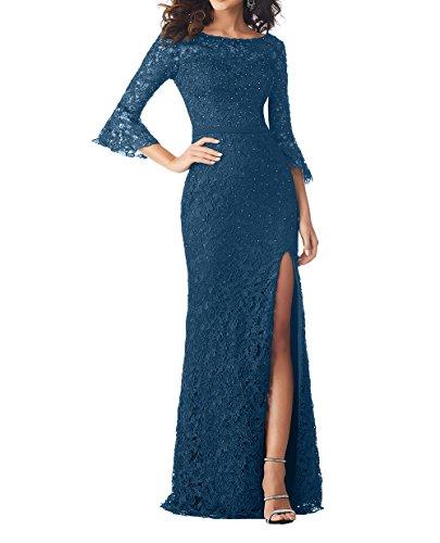 Damen mit Partykleider Etuikleider Charmant Langarm Brautmutterkleider Abendkleider Blau Tinte Festlichkleider Bodenlang Fw4fgRqd