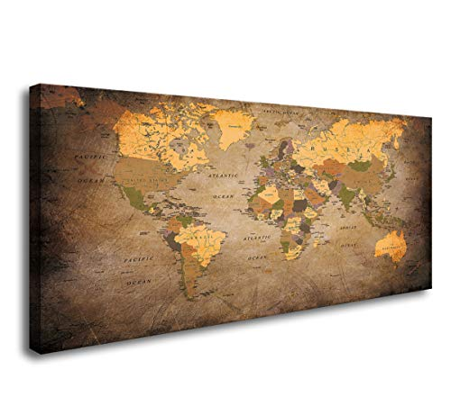 Baisuwallart- 1 Piece Vintage World Map Canvas Wall Art- Ready to Hang - Home Office Decor Picture Prints for Living Room Bedroom Abstract Painting Artwork 20x40inches - Art Furniture Bedroom